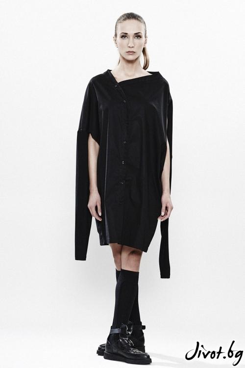 Дамска черна деконструктивна риза MARIA QUEEN MARIA