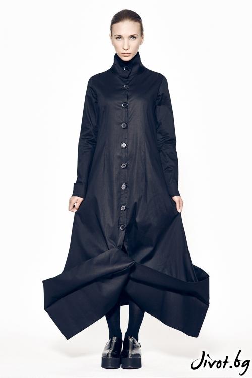 Дълга черна рокля с копчета MARIA QUEEN MARIA