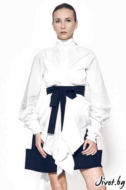 Дамска бяла риза с черен колан MARIA QUEEN MARIA