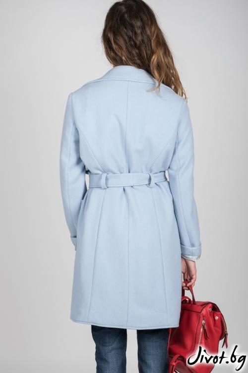 Небесно синьо дамско палто с колан / VIVASTELLA