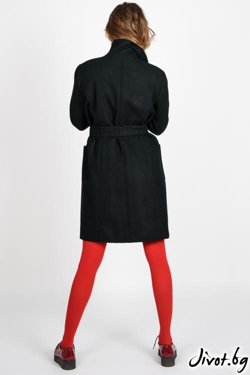 Черно дамско палто с колан / VIVASTELLA
