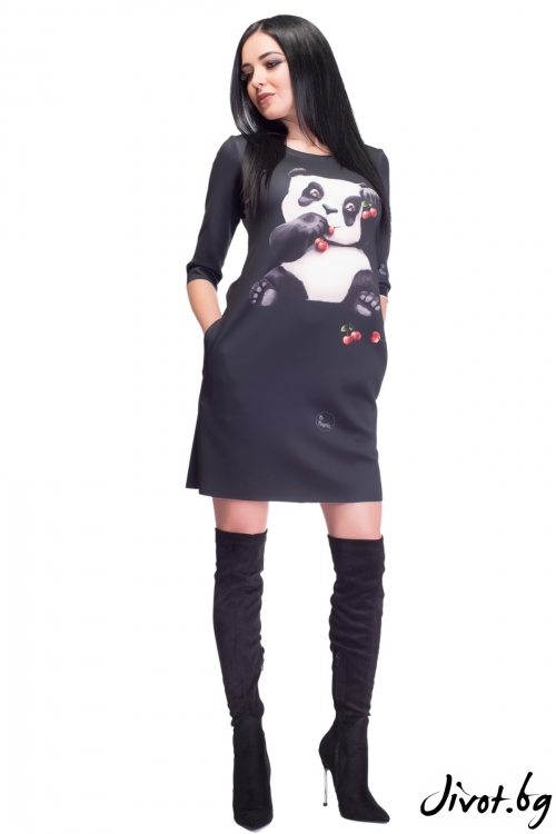 Черна дамска рокля с ръкави и скрити джобове / MyMagenta