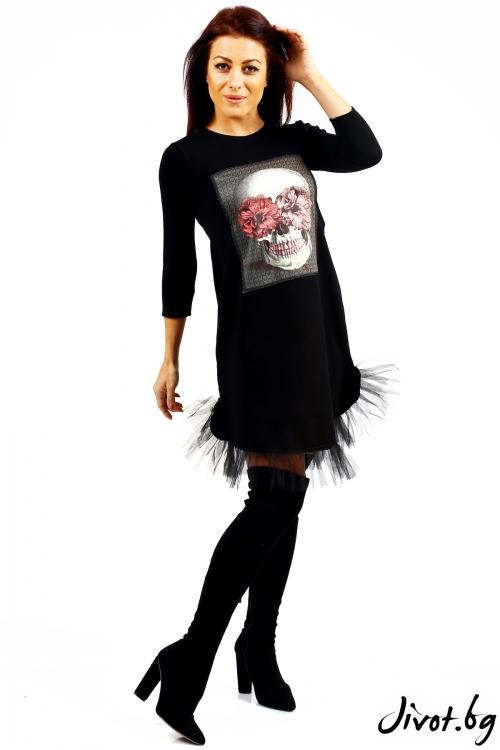 Къса черна рокля със щампа / Jeni&Migla