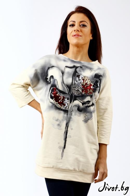 Разкошен дамски блузон, ръчно изрисуван / Décollage