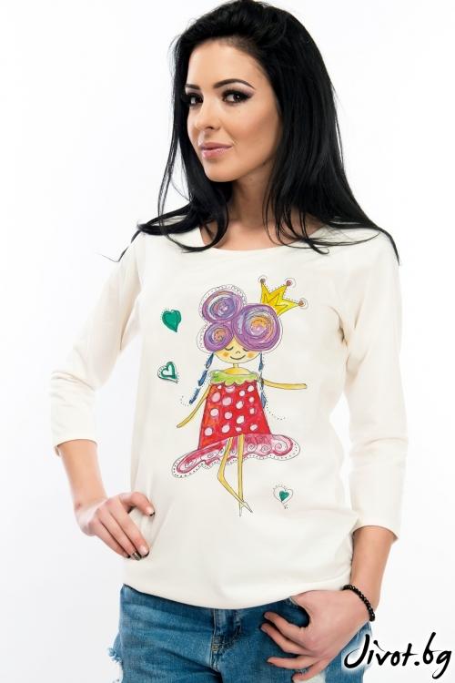 Дамска блуза с момиченце