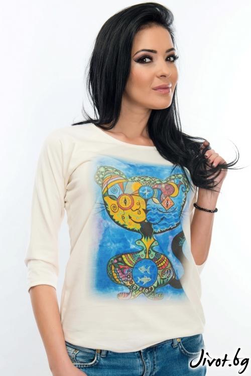 Дамска блуза от 100% органичен памук / WhiteBerry