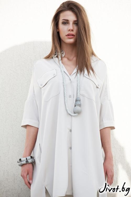 Копринена риза в нежно сиво / M2V