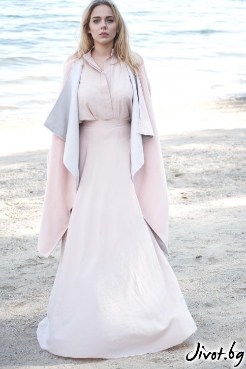 Уникално дамско палто в розово и сиво / M2V
