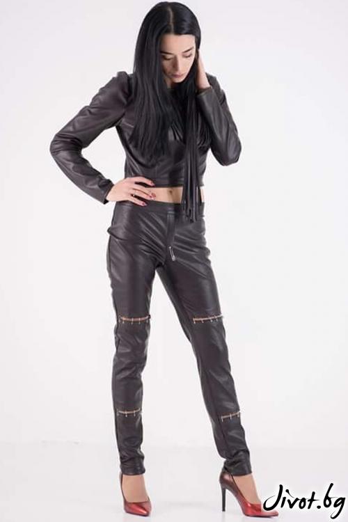 Панталон от еко кожа / JUST T.K.
