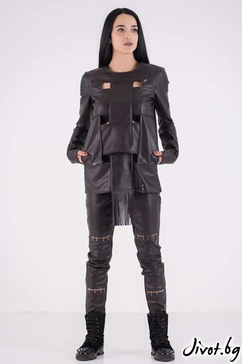 Ефектна блуза от еко кожа / JUST T.K.