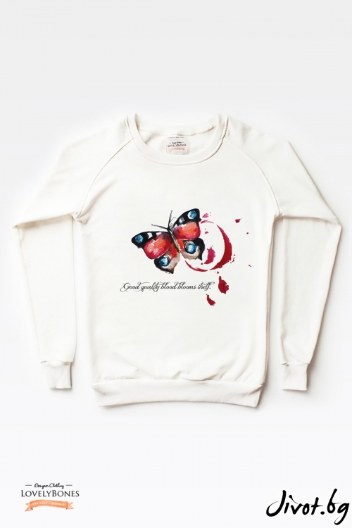 "Дамски суичър ""Red butterfly"" / LovelyBones Clothing"