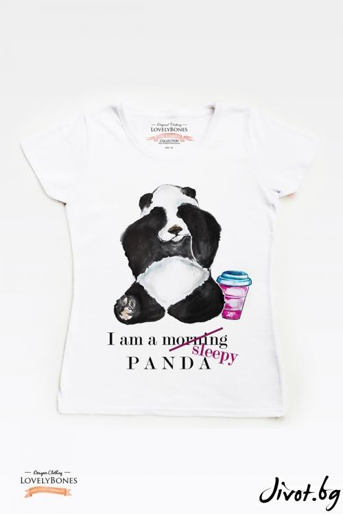 "Дамска тениска ""A Sleepy Panda"" / LovelyBones Clothing"