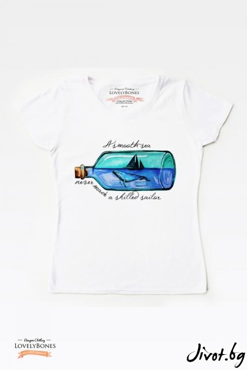 "Дамска тениска ""A smooth sea"" / LovelyBones Clothing"