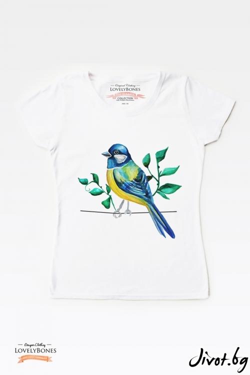 "Дамска тениска ""Blue Bird"" / LovelyBones Clothing"