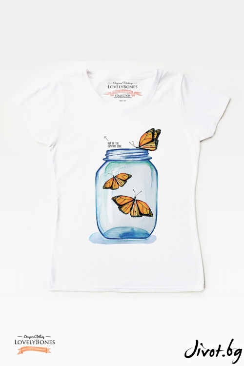 "Дамска тениска ""Butterflies jar"" / LovelyBones Clothing"