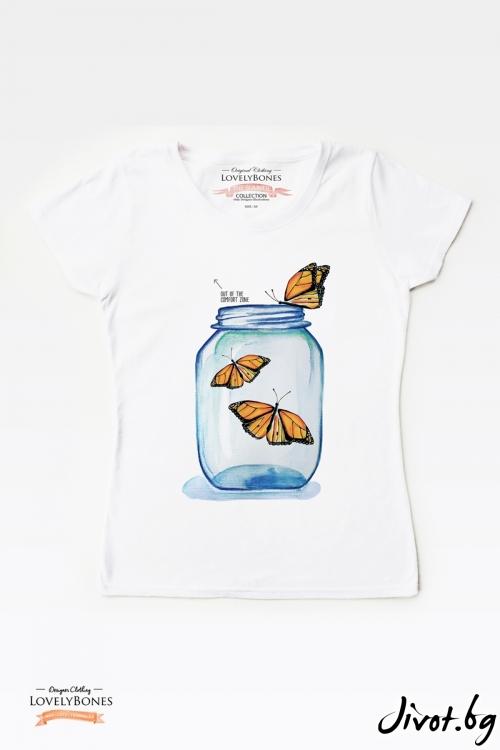 "Дамска тениска ""Butterflies jar"" / LovelyBones Clothing"