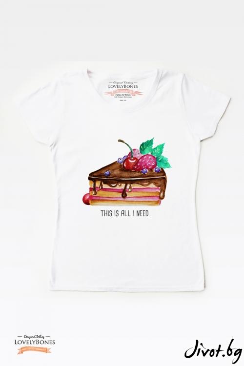 "Дамска тениска ""Cake"" / LovelyBones Clothing"