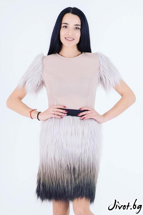 Дамска блуза от неопрен с ръкави от еко косъм / JUST T.K.