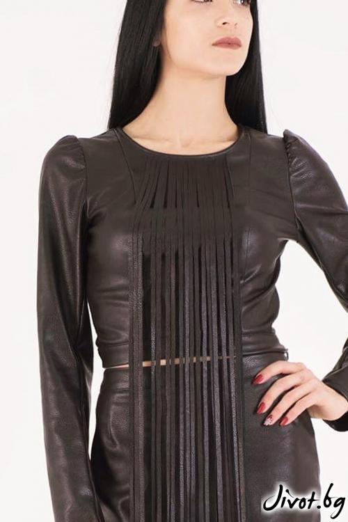 Блуза от еко кожа / JUST T.K.
