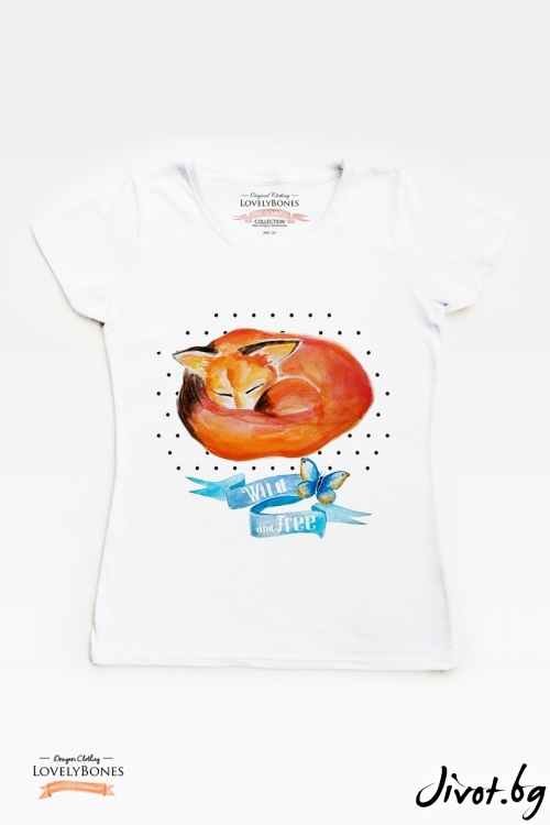 "Дамска тениска ""Sleepy fox"" / LovelyBones Clothing"