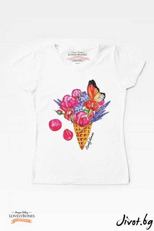 "Дамска тениска ""A flowers Ice cream"" / LovelyBones Clothing"