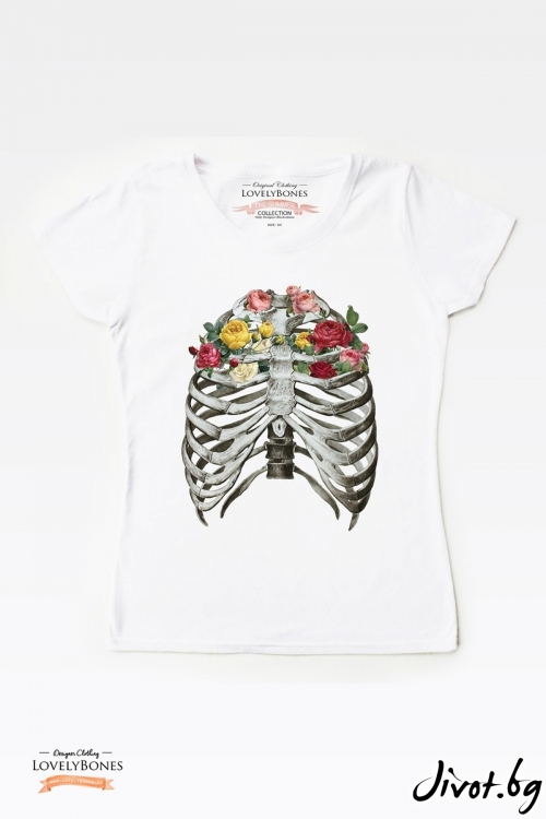 "Дамска тениска ""Bones & Flowers"" / LovelyBones Clothing"