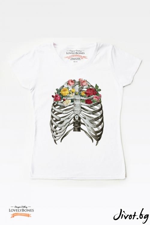 "Дамска тениска ""Bones & Flowers"" / LovelyBones Clothing"