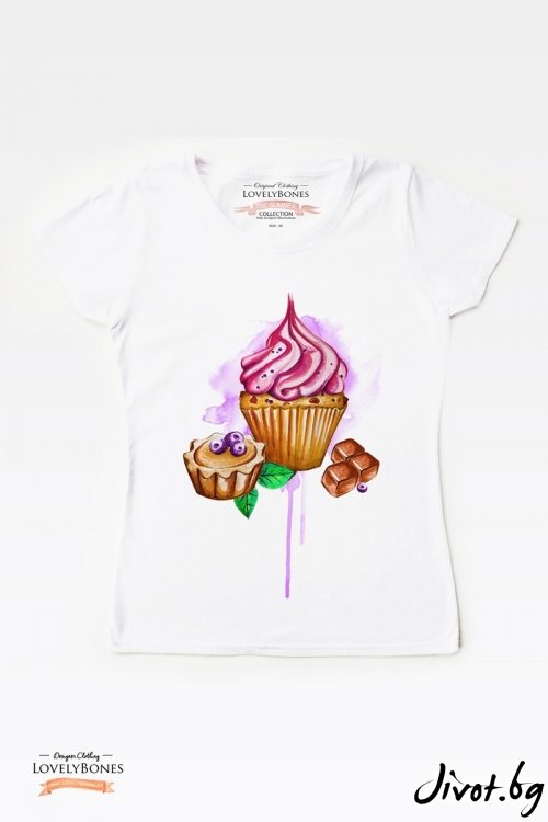 "Дамска тениска ""Chocolate & cupcakes"" / LovelyBones Clothing"