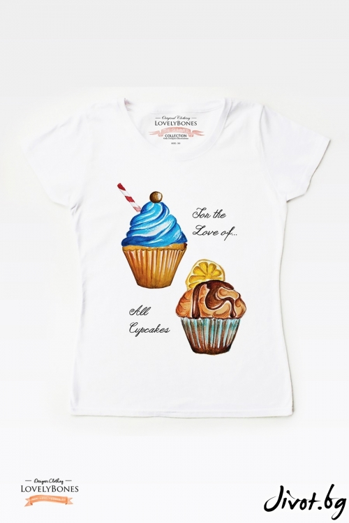 "Дамска тениска ""Cupcakes"" / LovelyBones Clothing"