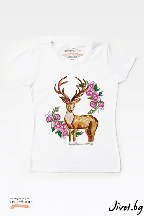 "Дамска тениска ""Deer and Roses"" / LovelyBones Clothing"