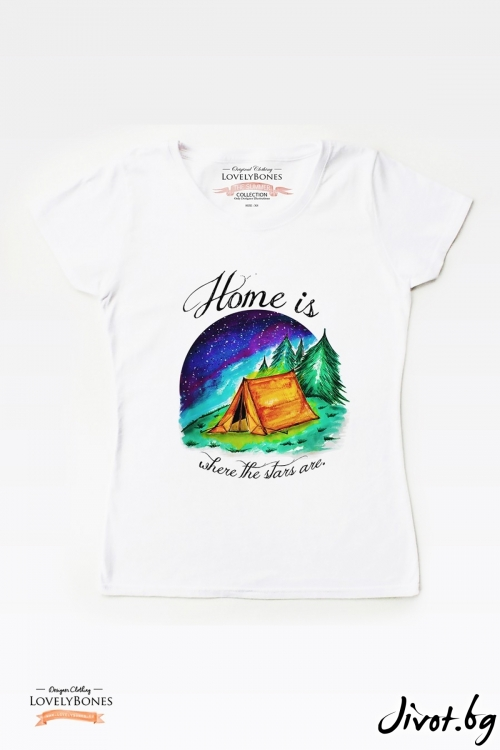 "Дамска тениска ""Home is where the stars are"" / LovelyBones Clothing"