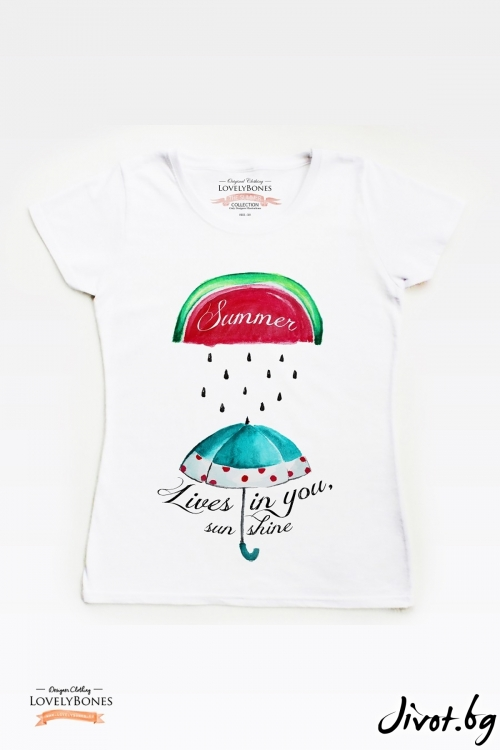 "Дамска тениска ""Summer lives in you"" / LovelyBones Clothing"