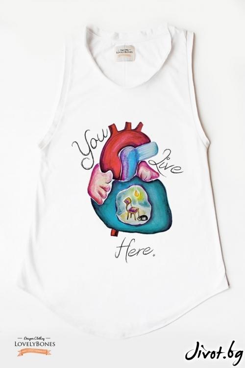 "Дамска памучна туника без ръкави ""A place to live"" /LovelyBones Clothing"