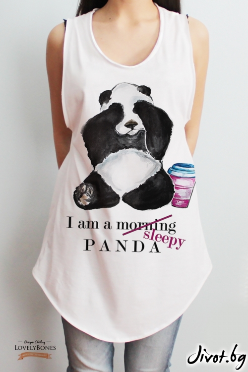 """Дамска памучна туника без ръкави """"A sleepy panda"""" /LovelyBones Clothing"""