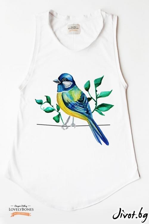 "Дамска памучна туника без ръкави ""Blue bird"" /LovelyBones Clothing"
