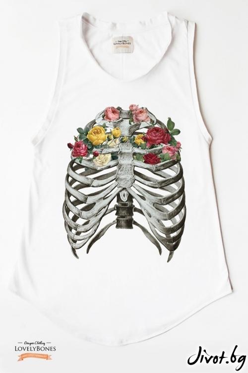 """Дамска памучна туника без ръкави """"Bones & Flowers"""" /LovelyBones Clothing"""