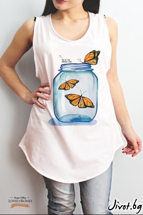 "Дамска памучна туника без ръкави ""Butterflies Jar"" /LovelyBones Clothing"
