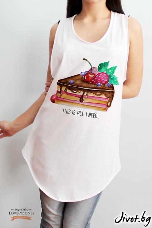 "Дамска памучна туника без ръкави ""Cake"" /LovelyBones Clothing"