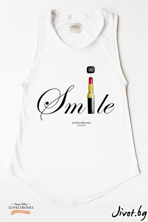 "Дамска памучна туника без ръкави ""Chanel Smile"" /LovelyBones Clothing"