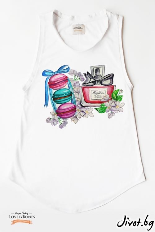 """Дамска туника без ръкави """"Dior & Macarons"""" /LovelyBones Clothing"""