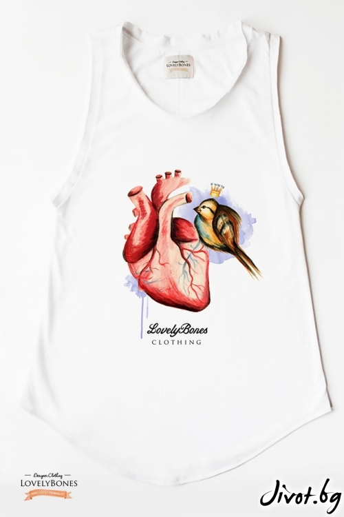 "Дамска туника без ръкави ""Heart & bird"" /LovelyBones Clothing"