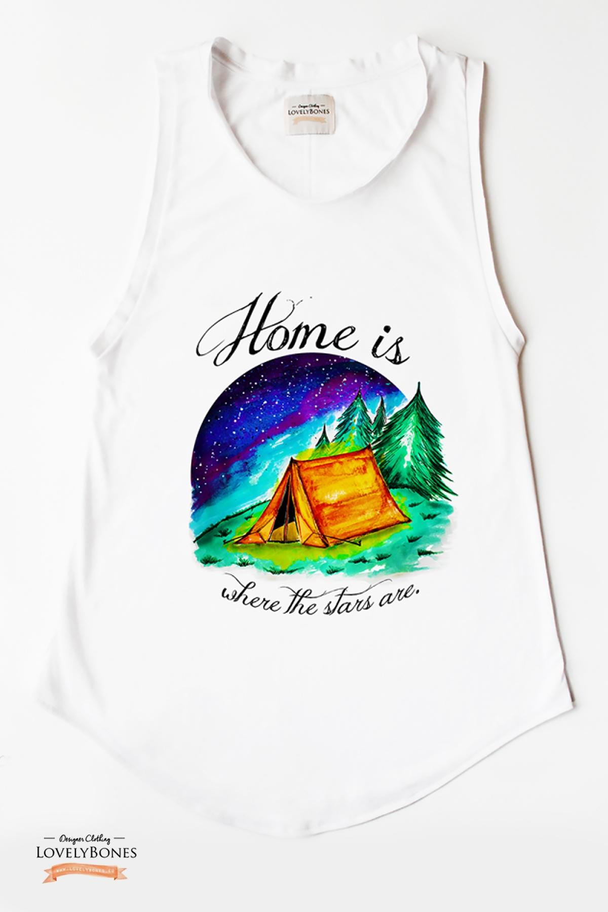 """Дамска туника без ръкави """"Home is where the stars are"""" /LovelyBones Clothing"""