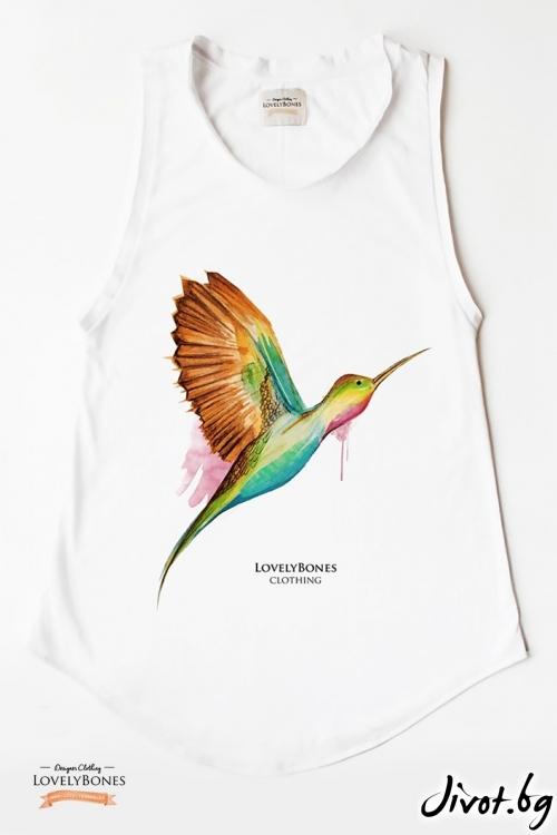 "Дамска туника без ръкави ""Humming Bird"" /LovelyBones Clothing"