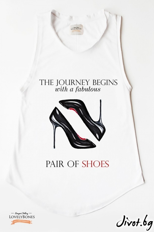 "Дамска туника без ръкави ""My pair of shoes"" /LovelyBones Clothing"