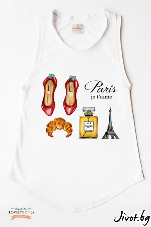 "Дамска туника без ръкави ""Paris, je t'aime"" /LovelyBones Clothing"