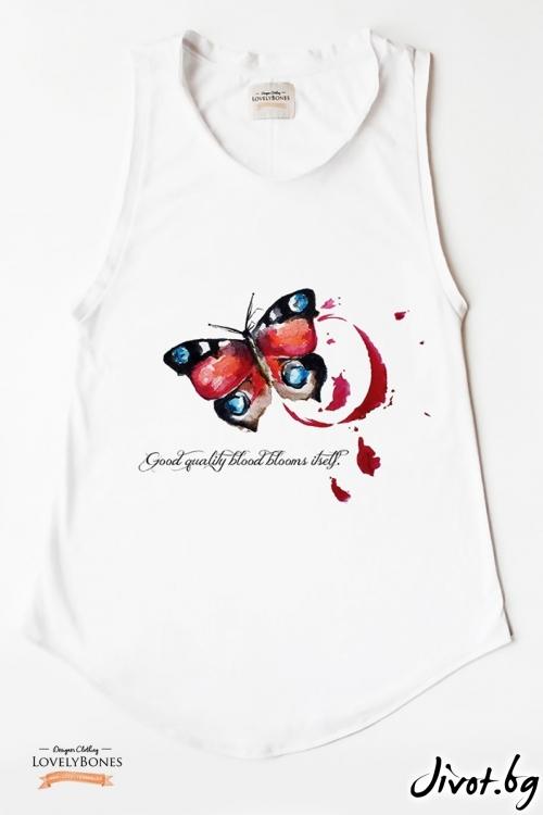 "Дамска туника без ръкави ""Red butterfly"" /LovelyBones Clothing"