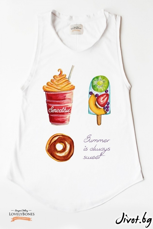 "Дамска туника без ръкави ""Summer is Sweet"" /LovelyBones Clothing"