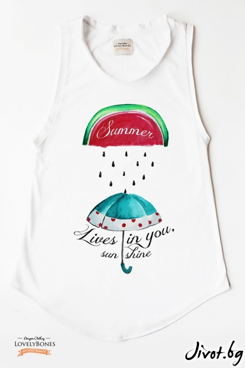 "Дамска туника без ръкави ""Summer Lives in you"" /LovelyBones Clothing"