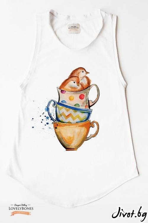 """Дамска туника без ръкави """"Teacups & birdies"""" /LovelyBones Clothing"""
