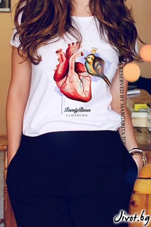 "Дамска тениска ""Heart & Bird"" / LovelyBones Clothing"
